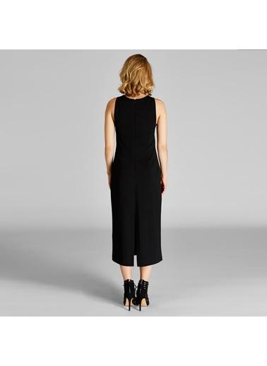 Sıfır Yaka Kolsuz Midi Elbise-Vekem